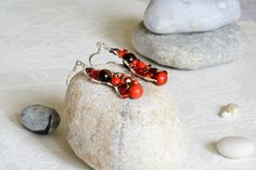 Items similar to Elegant asymmetrical wirework earrings in red hues on Etsy Handmade Jewelry, Unique Jewelry, Handmade Gifts, Wire Work, Statement Earrings, Elegant, Trending Outfits, Red, Etsy