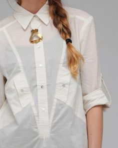 shirt detailing for detailing. Japan Fashion, 50 Fashion, Fashion Details, Couture Fashion, Womens Fashion, Fashion Design, Mode Top, Androgynous Fashion, Fashion Project