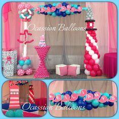 Nautical girl baby shower balloons decoration