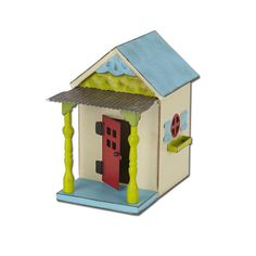 """Cottage Fairy Garden Miniatures  $39.99 Place this cute cottage in your fairy garden for just the right pop of color! Dimensions: 7""""w x 10.5""""h x 7 d Hand-painted All-weather paint Door opens and closes"""