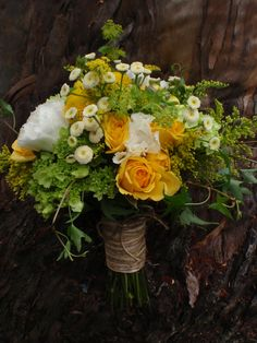 Yellow and Green Bouquet, Fever few, Gold Strike Roses, Hydrangeas, Solidago, Lisianthus and Burpleurum, Twine Wrap