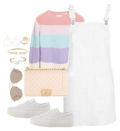 A fashion look from June 2017 featuring cross-back dresses, summer sweaters and mid-heel shoes. Browse and shop related looks. Kpop Fashion Outfits, Girls Fashion Clothes, Edgy Outfits, Korean Outfits, Cute Casual Outfits, Girl Outfits, Cute Skirt Outfits, Pretty Outfits, Look Fashion