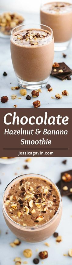 Chocolate Hazelnut Smoothie with Bananas - This creamy blended drink recipe is the perfect way to indulge without the guilt. Roasted hazelnuts, cocoa, and banana make each sip satisfying! via @foodiegavin