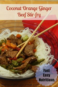 Recipe: Coconut Orange Ginger Beef Stir-fry - Made with grass-fed beef, rice noodles, yummy veggies, fresh-squeezed orange juice, coconut water, and toasted sesame seeds, spices, fresh ginger, and fresh garlic, this dish is full of flavor and good for you too! -- The Nourishing Gourmet