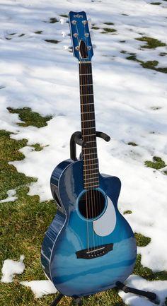 Winter photography of carbon fiber guitars - The Acoustic Guitar Forum Blue Acoustic Guitar, Custom Acoustic Guitars, Blue Guitar, Acoustic Guitar Photography, Musician Photography, Guitar Girl, Cool Guitar, Takamine Guitars, Ukulele Design