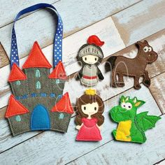 Finger Puppets – Knight Set Each set is OOAK and customizable with skin tone and hair colors  yours will vary slightly from the example photo Finished set is $26