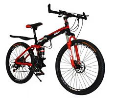 607e3488731 Dual Suspension Foldable 21 Speed Mountain Bike (Red & Black Bicycle) Red  Black,