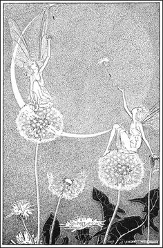 Fairies and Dandilion Puffs - black and white print - nice for bedroom.