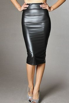 LIQUID LEATHER LONG PENCIL SKIRT
