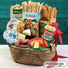 "Stew Leonard's ""Stew's Wow"" Basket - and ""WOW"" is just what they'll say when your recipients dive into this abundance of sweet and savory snacks. Includes cheddar cheese from Vermont, Sopressata, Genoa Salami, Almonds, Cashews and more!"