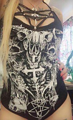 studded pentagram bodysuit by Chaosville on Etsy, $75.00