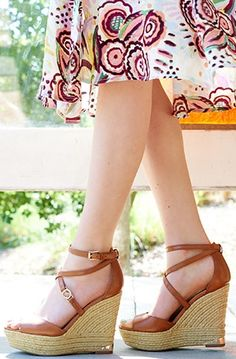 These espadrille wedge sandals are perfect for a sunny day look.