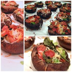 Stuffed pizza shrooms: make shrooms into cups (remove stems & the frills) then brush in olive oil and salt. Preheat oven to 375. Bake shrooms for 5 min., take out and add pizza sauce, mozzarella, veggies, meats & fresh basil. Bake 13 minutes then broil for 2 min.  Yum! (Pinterest recipe nailed!)