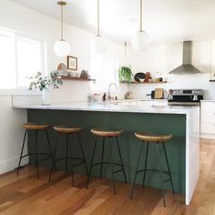 """""""Finally, the right stools!   though the IKEA ones did the job, these @westelm beauts are 10x more comfortable and at just the right height. Love the…"""""""