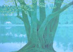 東山魁夷 若葉の季節 1972年 Contemporary Landscape, Landscape Art, Landscape Paintings, Landscapes, Japanese Art Styles, Japanese Artists, Japanese Painting, Japan Art, Pictures To Draw