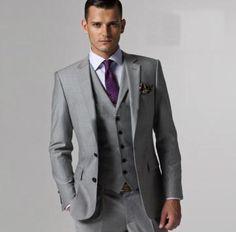 Groom + Grooms men - Purple tie, Silver vest - would prefer a black suit however