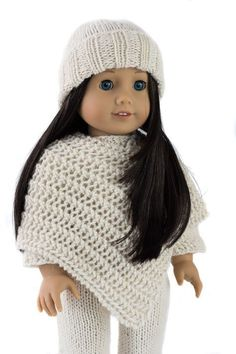 """Cozy Winter 18"""" American Girl Doll Hat, Sweater, Ponch and Pants Knitting Pattern Set!"""
