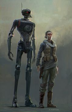 Early K2SO and Jyn Erso Concept Rogue One: A Star Wars Story, Aaron McBride on ArtStation at https://www.artstation.com/artwork/zNbow