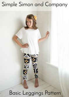 Make these darling girls leggings with our simple leggings pattern. It is available in both PDF and a traditional paper version. Basic Leggings, Girls In Leggings, Sewing Tutorials, Sewing Patterns, Sewing Tips, Sewing Projects, Sewing Ideas, Sewing Crafts, Bamboo Knitting Needles