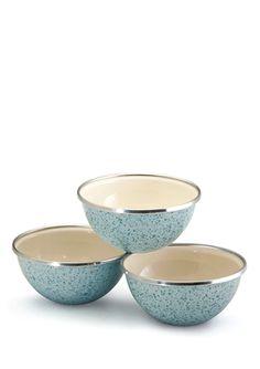 PAULA DEEN COOKWARE Set of 3 Enamel-On-Steel Prep Bowls