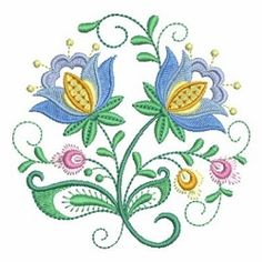 Jacobean Floral Circle 3 - 4x4 | What's New | Machine Embroidery Designs | SWAKembroidery.com Ace Points Embroidery