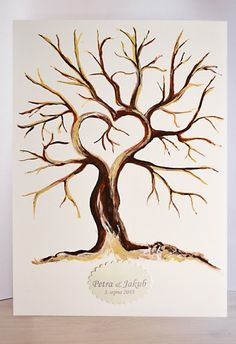 Svatební strom akryl na plátně 50x70 cm (SS001) Family Tree Drawing, Family Tree Art, Family Hand Prints, Hand Print Tree, Hunting Decal, Drawing Sketches, Drawings, Wood Burning Crafts, Tree Tattoo Designs