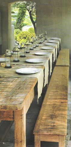 rustic table setting, one day our livingroom will become the diningroom once again and I need this big farm table! :)