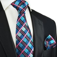 Bluebird and Pink Plaid Paul Malone Silk Tie and Pocket Square -- Awesome products selected by Anna Churchill