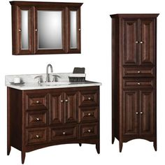 "Bathroom: Strasser Woodenworks furniture style ensemble center basin vanity 41.5""w 34.5""h 21""d linen cabinet 20.5""w 70""h 21""d  mirror rounded & arched 30"" beaded door/drawer style color ? drawer pulls (special)"