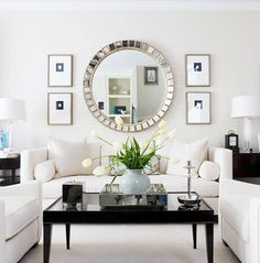Symmetrical Grouping of Art Surrounding Large Mirror ... from BHG via Centsationalgirl