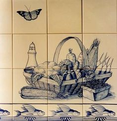 blue and white still life on hand painted tiles