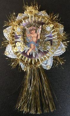 Vintage Look Angel Christmas Ornament Victorian-Scrap Angel,German Dresdens,Spun Glass,German Tinsel,Vintage Lametta Tinsel Icicles by HavAMarileeChristmas on Etsy