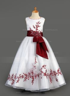 Flower Girl Dresses - $136.99 - A-Line/Princess Scoop Neck Floor-Length Organza Charmeuse Flower Girl Dress With Embroidered Sash Beading Sequins (010005891) http://jenjenhouse.com/A-Line-Princess-Scoop-Neck-Floor-Length-Organza-Charmeuse-Flower-Girl-Dress-With-Embroidered-Sash-Beading-Sequins-010005891-g5891