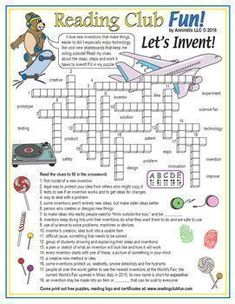 The Work of Inventing Crossword Puzzle INVENTIONS AND INVENTING - Learn about the ideas, steps, and work that it takes to invent with this Crossword Puzzle!