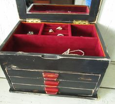 Vintage Jewelry box Distressed  Black Paint by OvermanStudios, $30.00