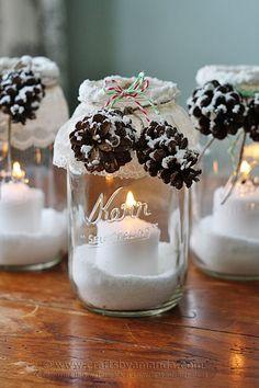 Snowy Pinecone Candle Jar Luminaries @amandaformaro Crafts by Amanda