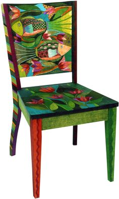 Painted chair by Helen Heins Peterson Art Furniture, Funky Furniture, Colorful Furniture, Upcycled Furniture, Furniture Makeover, Whimsical Painted Furniture, Hand Painted Chairs, Hand Painted Furniture, Painted Tables
