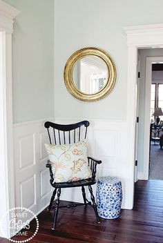 Paint color- Sherwin Williams Sea Salt Sweet Chaos Home: House Tour: The Foyer Decor, House, Interior, New Homes, Chair, Home Decor, House Interior, Sea Salt Sherwin Williams, House Colors