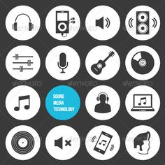 Vector Sound Media and Technology Icons — JPG Image #logo #application • Available here → https://graphicriver.net/item/vector-sound-media-and-technology-icons/5562924?ref=pxcr