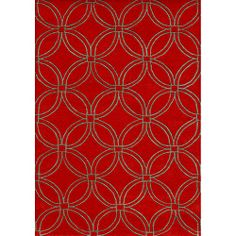 @Overstock.com - Handmade Metro Circles Red Area Rug (5' x 8') - Handmade of beautiful New Zealand wool, this rug features a striking geometric pattern. Rich colors of red and taupe highlight this rug.  http://www.overstock.com/Home-Garden/Handmade-Metro-Circles-Red-Area-Rug-5-x-8/5810295/product.html?CID=214117 $165.99