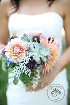Bridal bouquet recipe:  Orange and Cream Dahlias (3 stems)  Large dinner plate dahlia (1 stem)  Echeveria (1 large wired rosette, 9 small wired rosettes)  Blue hydrangea (3 stems)  Asparagus plumosa (3 stems)  Dusty miller (3 stems)  Japanese anemone (5 stems)  Echinacea (3 stems)  Cornflowers (5 stems)