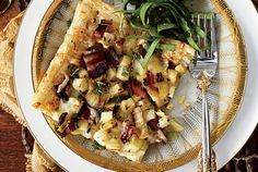 Recipe of the day: Bacon, Apple and Leek Tart Photography by Jeff Coulson/TC Media This crisp, sweet and savoury appetizer that's served at room temperature is a surefire hit with guests. Cooking the bacon before cutting it into chunks gives it a better shape. Look for puff pastry in the freezer section of your grocery store. Cover and refrigerate any leftovers overnight and reheat in a 375°F (190°C) oven, about 15 minutes.