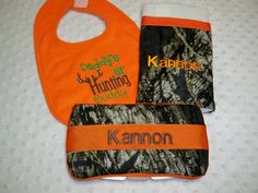 """3 Piece Camo Baby Boy Gift Personalized Wipe Case, """"Daddy's lil Huntin Buddy"""" Bib, Personalized Burp Cloth - Perfect for the Little Hunter on Etsy, $25.00"""