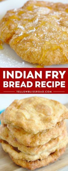 Authentic Indian Fry Bread Recipe is a classic Navajo recipe that is so easy to make and completely delicious! The dough is deep fried until golden brown and covered in savory or sweet toppings to enjoy! #yellowblissroad #frybread #breadrecipes