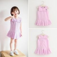 Materials: cotton Color: one color Size: 90, 100, 110, 120, 130 Package includes: 1*Dress