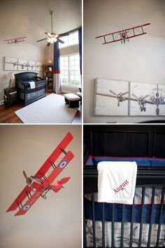 Red and Blue Vintage Airplane Nursery.  Planes found at Hobby Lobby.