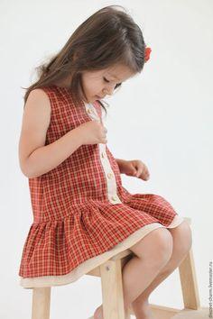 Dress for girl / Одежда для девочек, ручной работы. Ярмарка Мастеров - ручная работа. Купить Оранжевое клетчатое летнее детское платье без рукавов на пуговицах. Handmade.