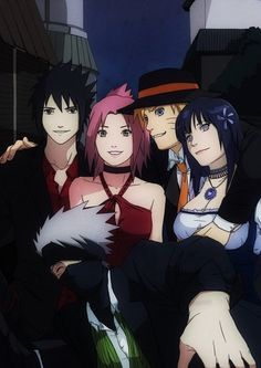 Sasuke, Sakura, Naruto, Hinata, and Kakashi. I feel like Kakashi is the fifth wheel. Naruto Team 7, Naruto Kakashi, Gaara, Anime Naruto, Art Naruto, Naruto Cute, Naruto Uzumaki Shippuden, Hinata Hyuga, Naruto Mignon