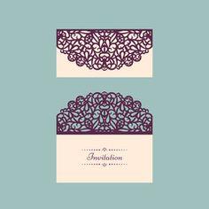 Lazercut vector wedding invitation template. Wedding invitation envelope for laser cutting. Lace gate folds.Lazer cut vector