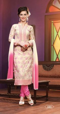 Heavy designer fancy light Pink coloured semi stitched salwar suit